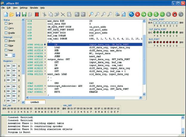 Рис. 3. Вид основного окна отладчика pBlaze IDE с результатами трансляции фрагмента, демонстрирующего использование директив DSROM и DSRAM