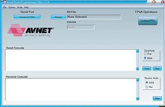 Рис. 6. Вид основного окна утилиты Avnet Programming Utility, соответствующий режиму загрузки конфигурационной последовательности в ПЛИС