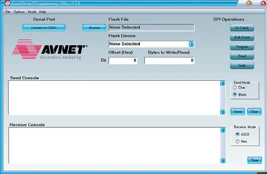 Рис. 7. Вид основного окна утилиты Avnet Programming Utility в режиме программиро вания последовательной Flash-памяти