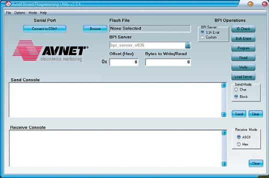 Рис. 8. Вид основного окна утилиты Avnet Programming Utility в режиме программирования параллельной Flash-памяти