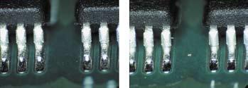 Точки пайки выводов TSOP до и после термоциклирования