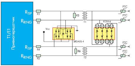 Схема защиты интерфейса Т1/Е1
