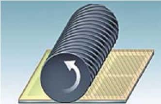 Формирование ориентирующего покрытия (натирка резиновым валиком) на рабочих поверхностях обеих подложек