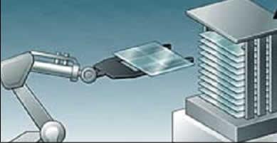Штабелирование ЖК-подложек роботом-укладчиком