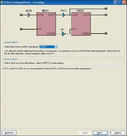 Вид диалоговой панели выбора сигнала, используемого для каскадного соединения двух модулей DCM в блоках синхронизации с конфигурацией Cascading in Series with Two DCM_SPs