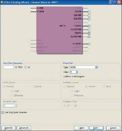 Диалоговая панель выбора основных параметров первого модуля DCM (INST1) General Setup For INST1 в блоках синхронизации с конфигурацией Cascading in Series with Two DCM_SPs