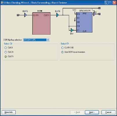 Вид диалоговой панели, предназначенной для выбора выходного триггера в блоке синхронизации с конфигурацией Clock Forwarding/Board Deskew и способа его управления, при использовании DDR-триггера OFDDRTCPE, который тактируется одним выходным сигналом модуля DCM