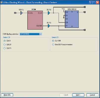 Вид диалоговой панели, предназначенной для выбора выходного триггера в блоке синхронизации с конфигурацией Clock Forwarding/Board Deskew и способа его управления, при использовании DDR-триггера OFDDRRSE, который тактируется двумя противофазными выходными сигналами модуля DCM