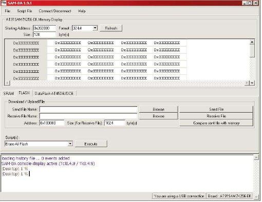 Рабочее окно программы SAM-BA