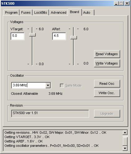Окно управления параметрами STK500