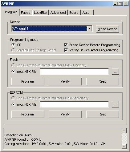 Окно управляющей программы внутрисхемного программатора ATAVRISP