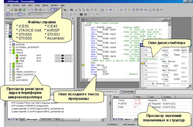 Интерфейс интегрированной среды разработки AVR Studio