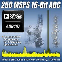 Быстродействующий АЦП 16 бит, 250 МГц с уникальными характеристиками