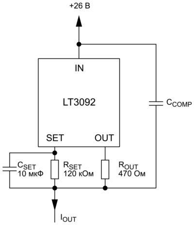 Схема в LTSpice для оптимизации выходного шума источника тока LT3092
