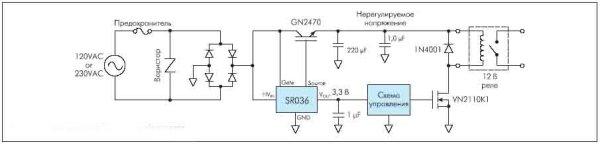 Рисунок 12. Схема включения SR03x как драйвера реле