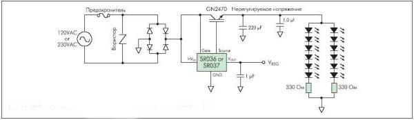 Рисунок 13. SR03x как драйвер линейки светодиодов при напряжении питания 120 В или 230 В переменного тока