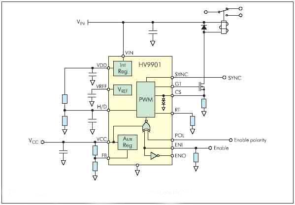 Рисунок 14. Типовая схема включения универсального драйвера реле HV9901