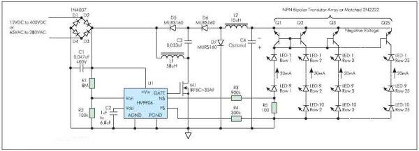 Рисунок 16. Схема включения HV9906