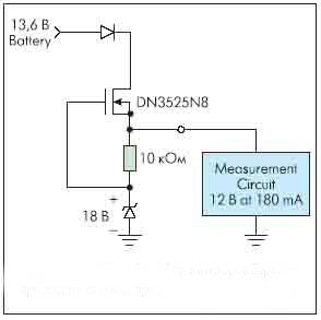 Рисунок 2. Применение DMOS транзисторов Supertex при защите от помех при работе от бортовой сети