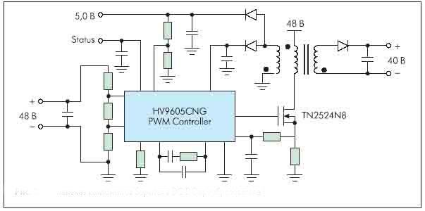 Рисунок 3. Применение компонентов Supertex в DC-DC-преобразователе