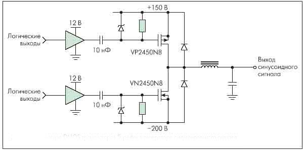 Рисунок 4. Применение DMOS транзисторов Supertex в генераторе синусоидального сигнала