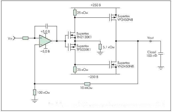 Рисунок 5. Применение DMOS транзисторов Supertex в усилителе с питанием 250 В