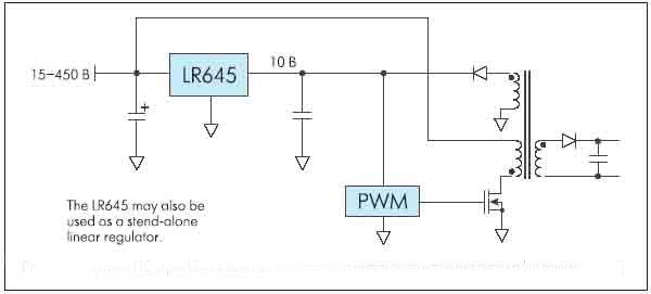 Рисунок 6. Применение ИС серии LRxxx в качестве схемы запуска импульсного источника питания (на примере LR645)