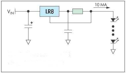 Рисунок 8. Схема включения LR8 как драйвера светодиодов