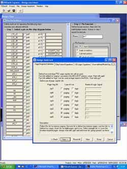 Задание функций выводов (нижнее окно) и задание регистра страниц (верхнее окно)